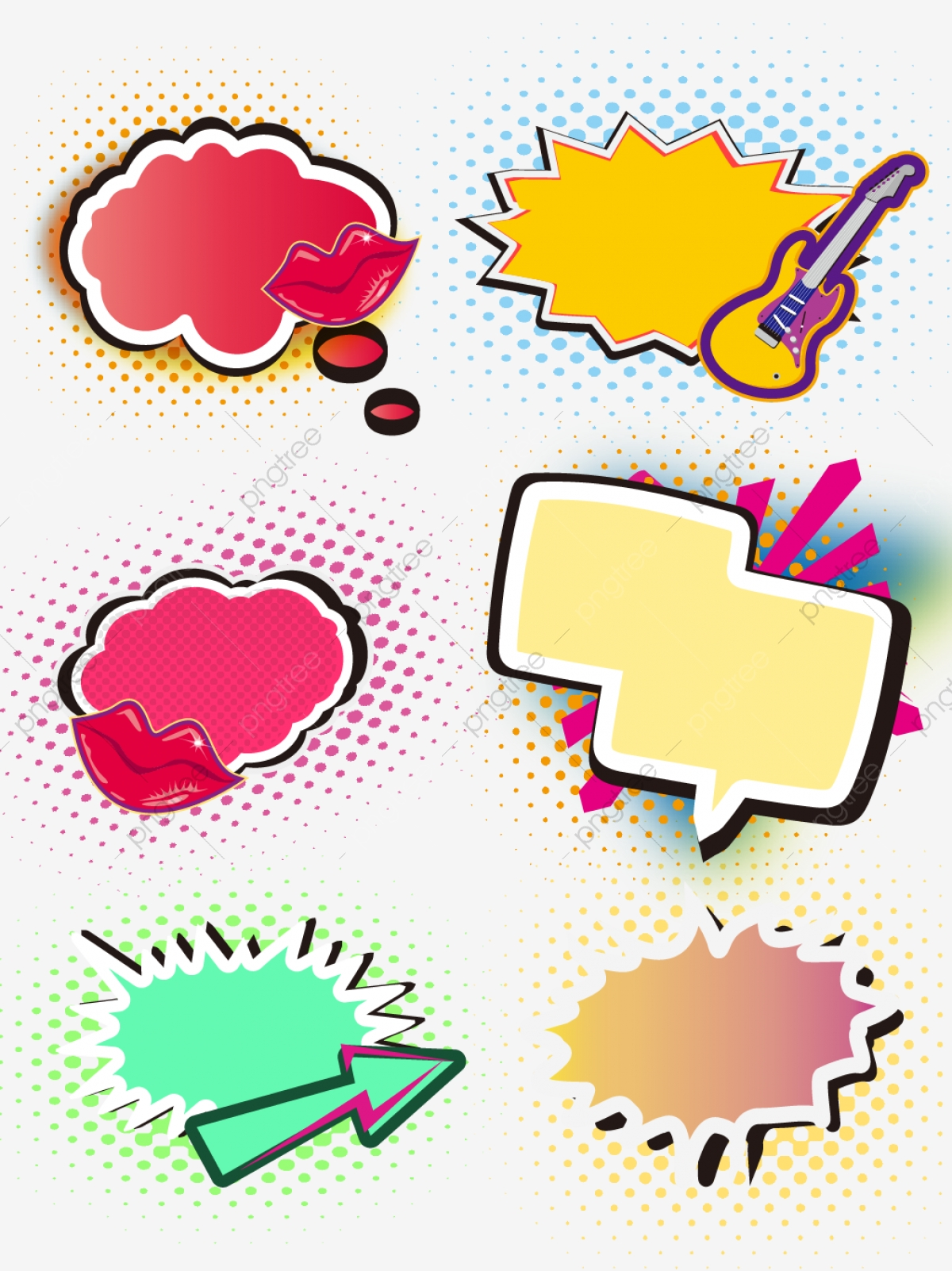 Color Explosion Cloud Dialog Material Pop Art Set Collection.