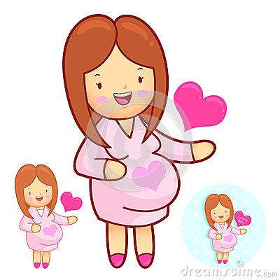Prenatal Maternal Gymnastics Mascot. Marriage And Parenting Char.