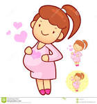 Pretty Pregnant Woman In Cartoon Style For Health And Medical in.