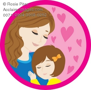 Clipart Illustration of a Mother and Her Daughter.