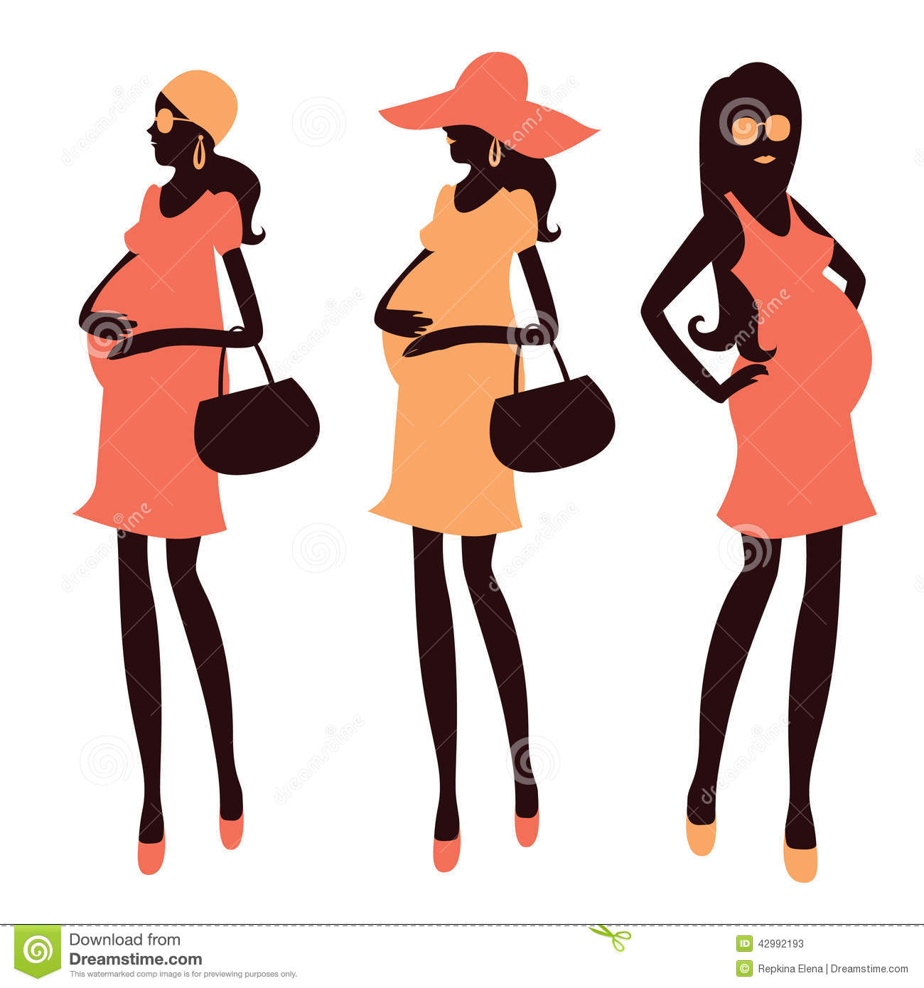 Fashionable Pregnancy And Maternity Clipart Stock Vector.