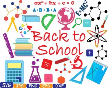 Back to School clipart math science Welcome teacher first day paint book.