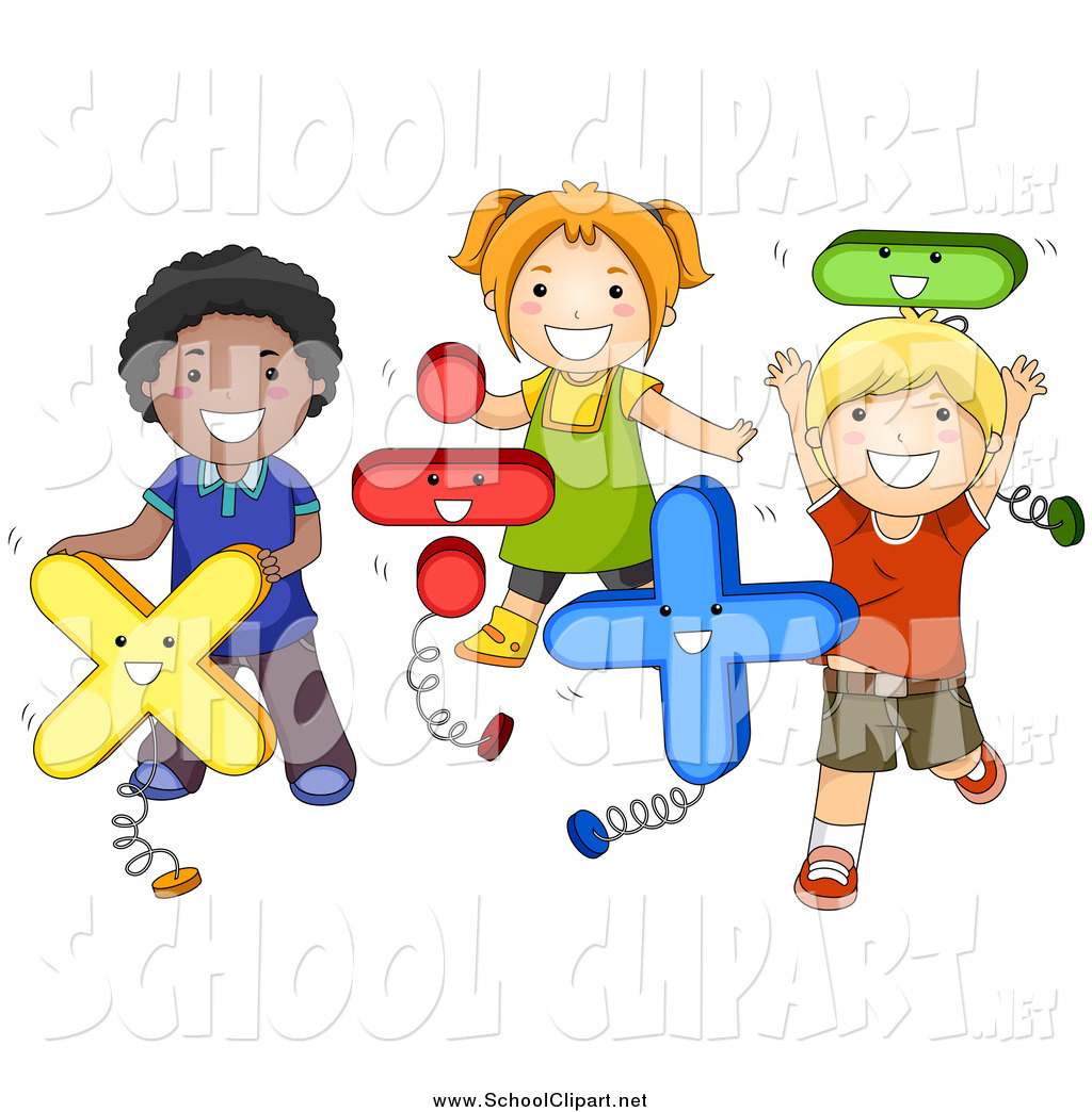 Clip Art of a Group of Happy School Kids Playing with Math Shapes.