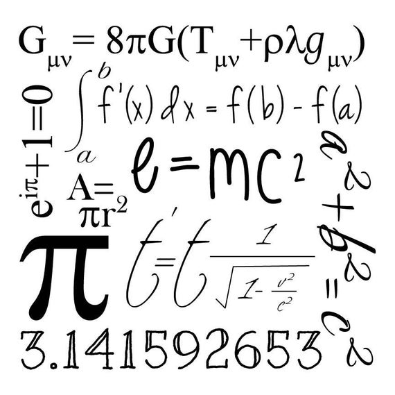 Math Geek Graphic Clip Art; math & science formulas, e=mc2, pi, svg cut  file; cutting file; vinyl stencil; vector; cricut, silhouette.