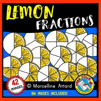 LEMON FRACTIONS CLIPART (FOOD) MATH CLIP ART.
