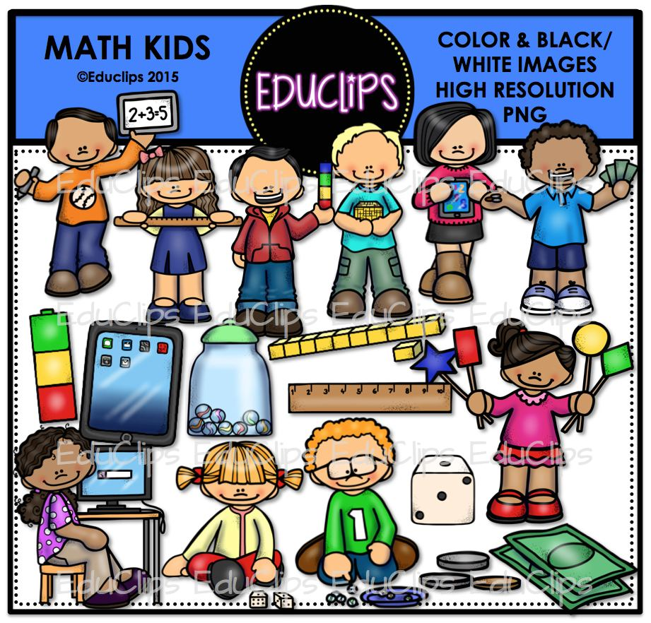 Math Kids Clip Art Bundle (Color and B&W).