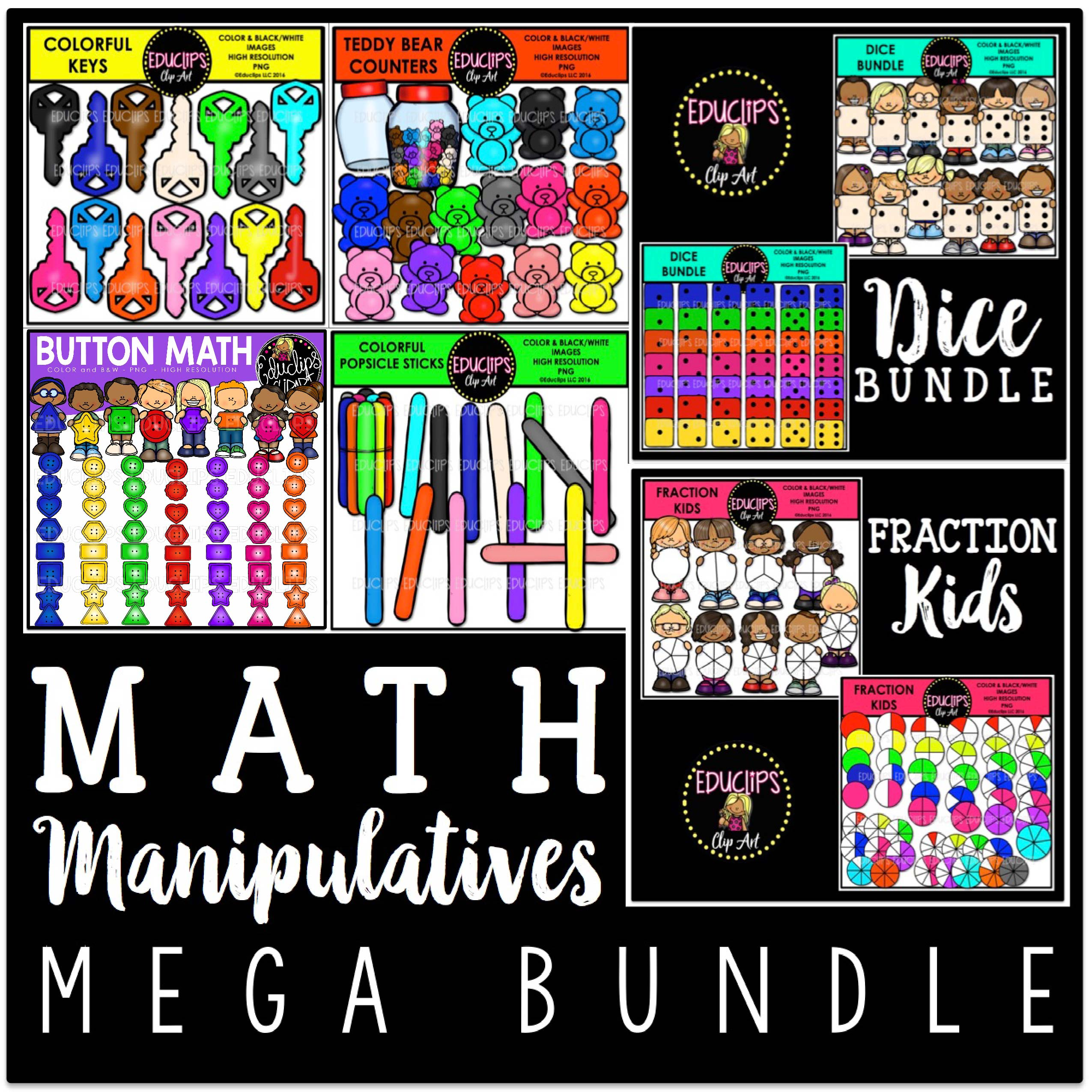 Math Manipulatives Clip Art Bundle (Color and B&W).