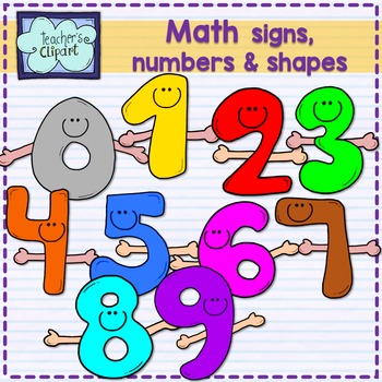 Math Signs, numbers and shapes characters clipart.