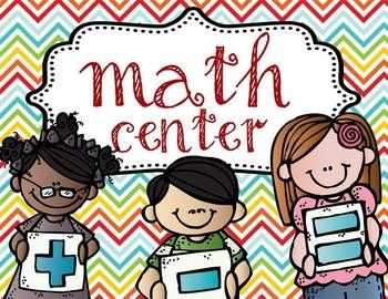Math Center sign with Melonheadz characters.