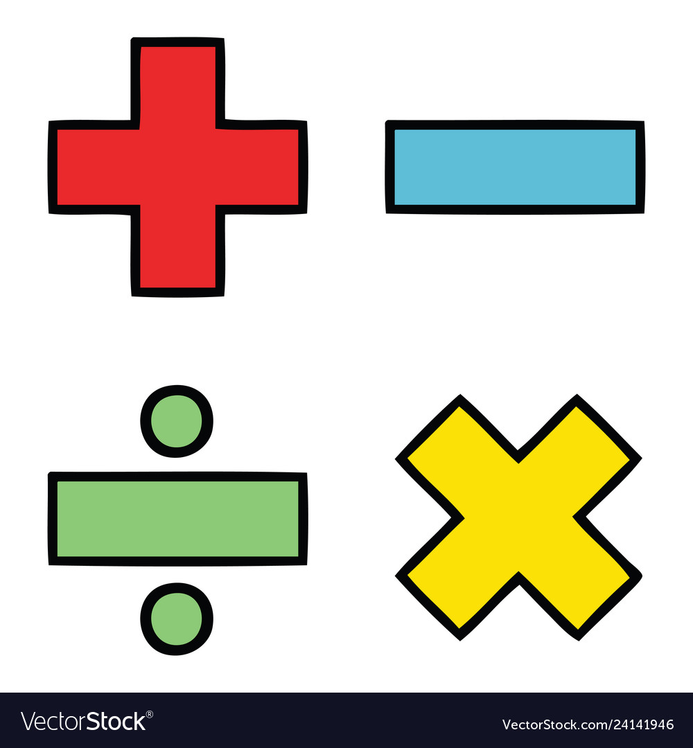 Cute cartoon math symbols.