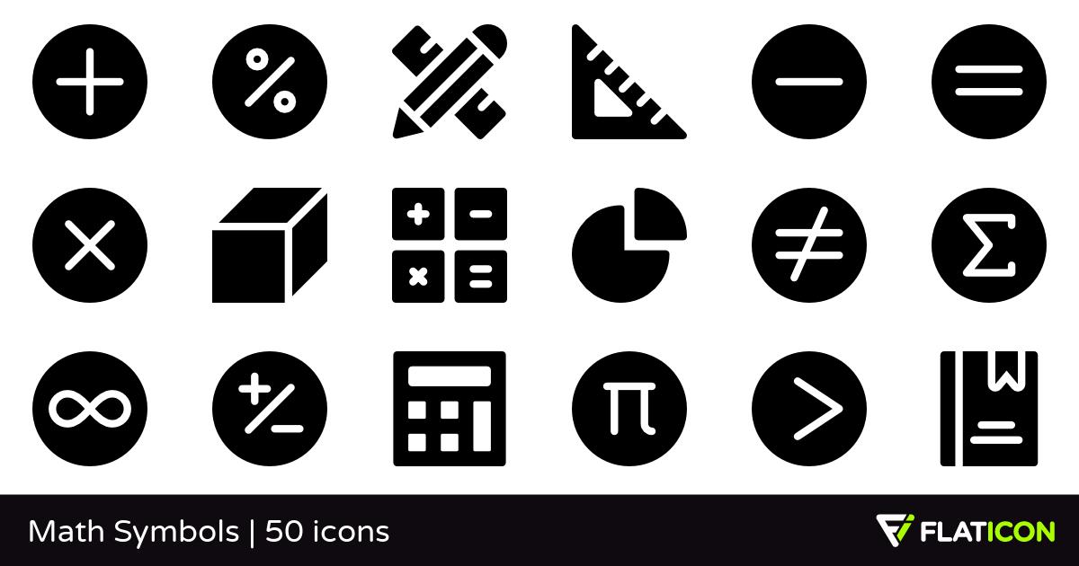 Math Symbols 50 free icons (SVG, EPS, PSD, PNG files).