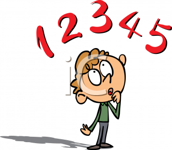 Cartoon Clipart Picture of a Boy Thinking About Numbers.
