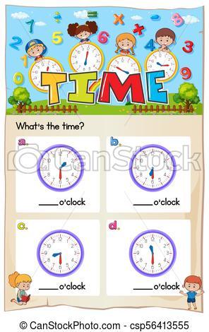 Math worksheet design for telling time.