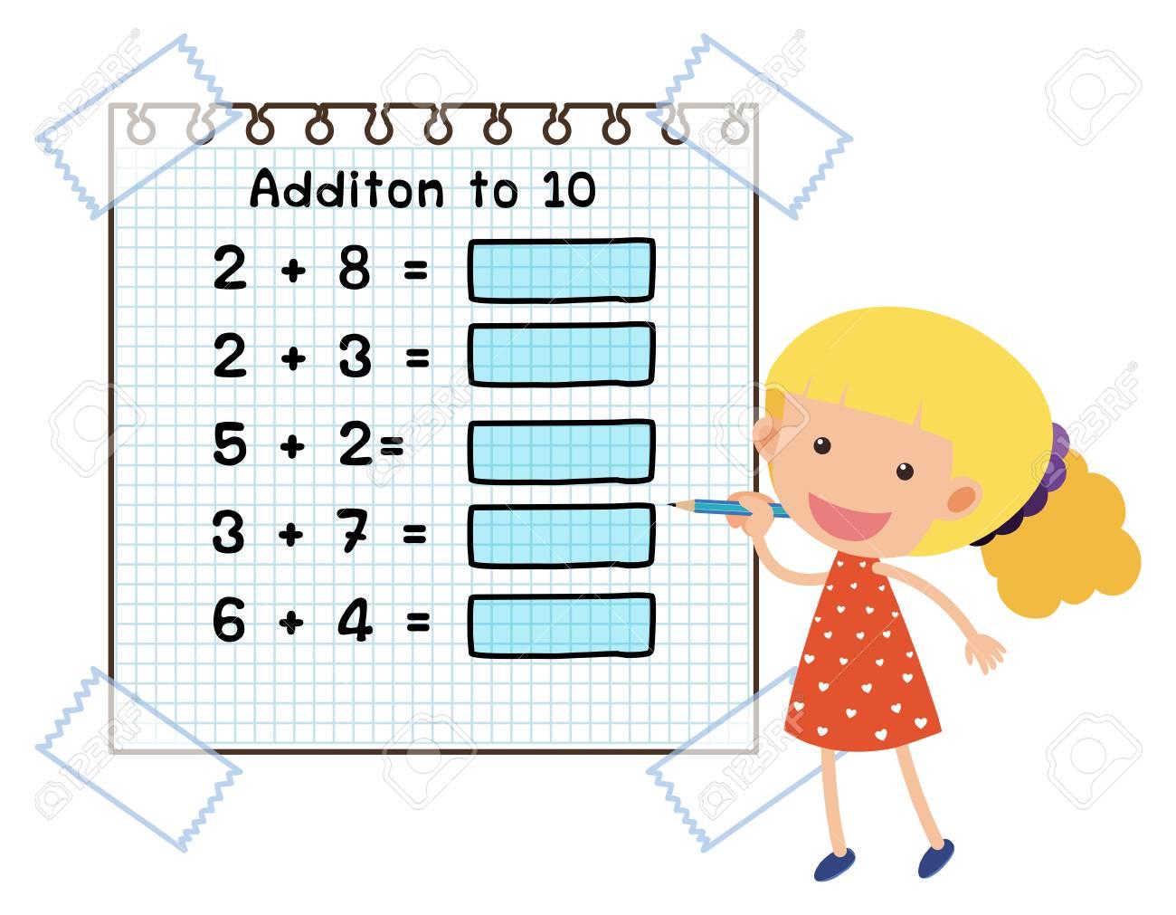 Math worksheet for addition to ten illustration.
