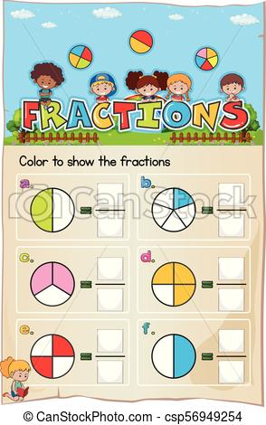 Mathematics Worksheet Fractions Chapter with Picture.