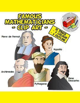 Famous Mathematicians Clip Art Pack 1.