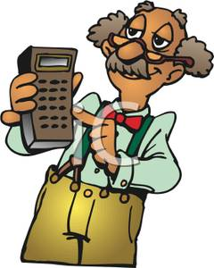 Image: A Smiling Elderly Man with a Brown Calculator.