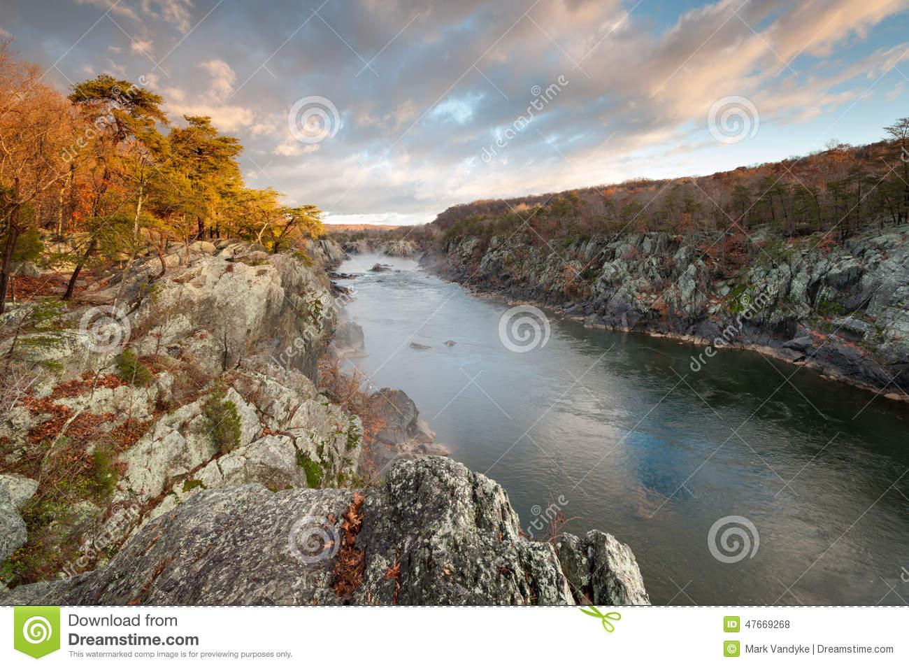 Mather Gorge Potomac River Great Falls National Park Stock Photo.
