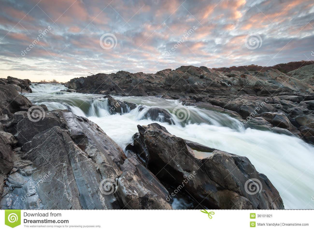Great Falls Potomac River Waterfall Sunrise Scenic Stock Photo.