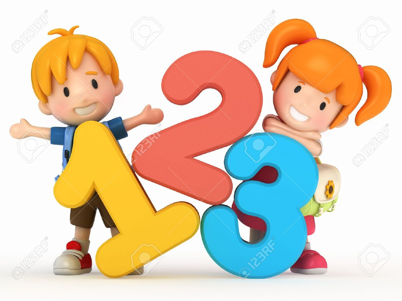 Kids learning math clipart.