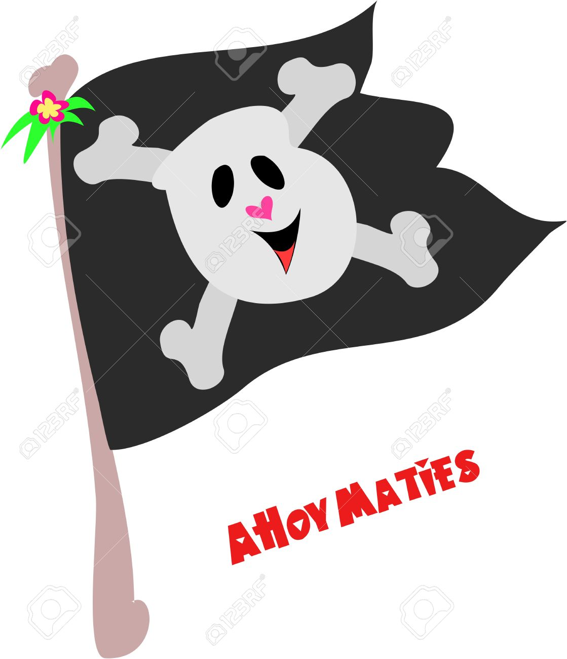 Pirate Flag With Ahoy Maties Greeting Royalty Free Cliparts.