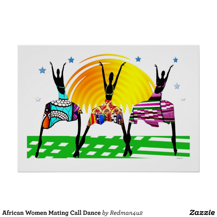 African Women Mating Call Dance Poster.