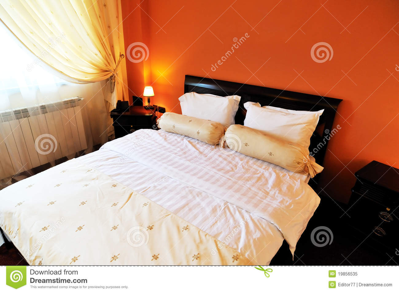 Matrimonial Bed Inside The Hotel Room Royalty Free Stock Photo.