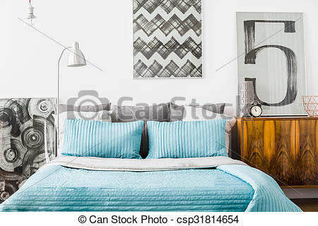 Stock Images of Cozy bedroom with matrimonial bed.