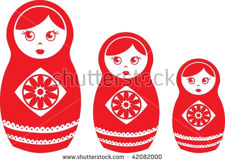 Clip Art Illustration Of Red Matryoshka Dolls..