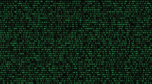Matrix background with the green symbols. 16:9. vector.
