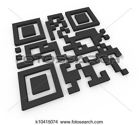 Drawings of 3d qr code (matrix barcode) k10415074.