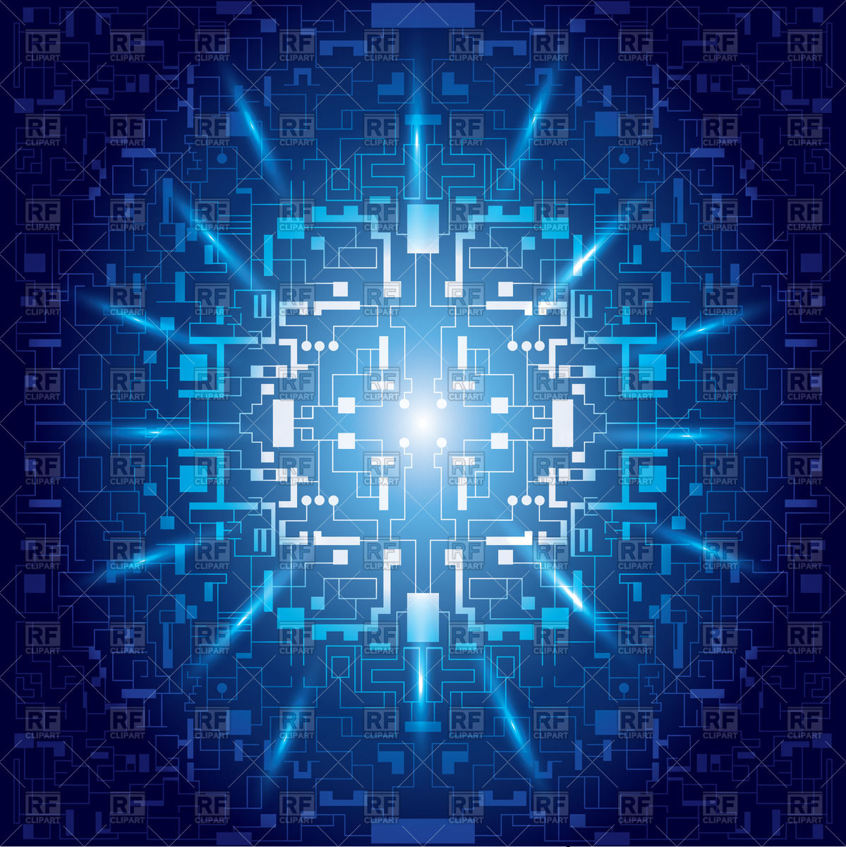 Abstract blue background with symbolic digital matrix Vector Image.