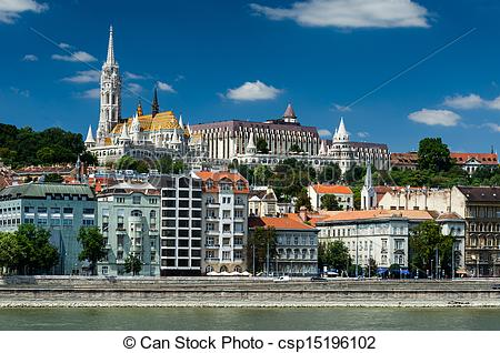 Stock Photography of Buda and Matthias Church. Old city of.