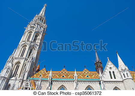 Picture of St. Matthias church in Budapest, Hungary. Saint.
