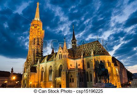 Stock Photo of Matyas or Matthias Church in Budapest, twilight.