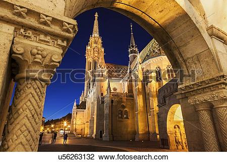 Stock Photo of Matthias Church seen through arch of Fisherman's.