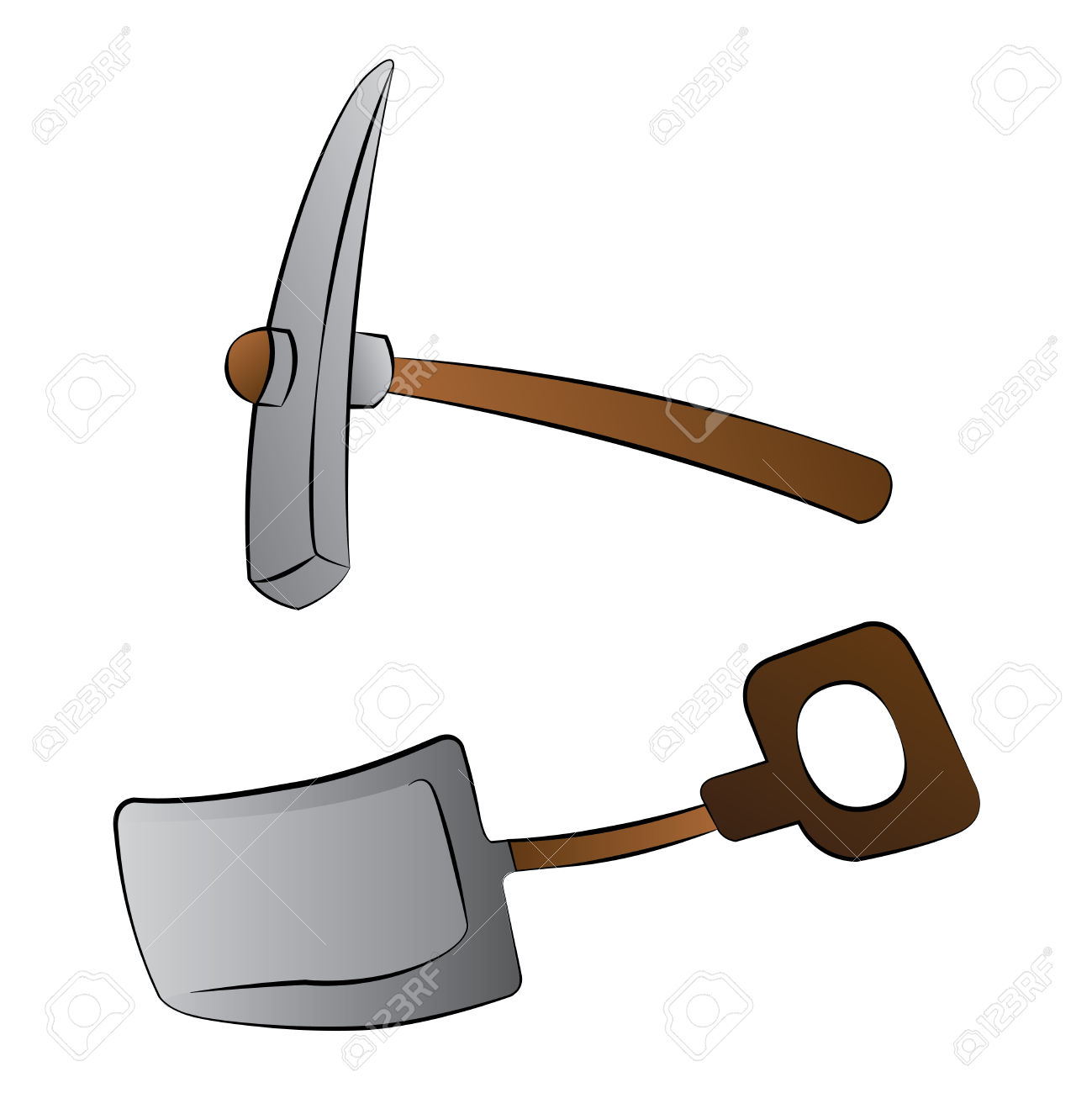 Black Outline Vector Shovel And Mattock On White Background.