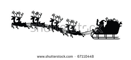 Silhouette Santa Claus His Sledge Christmas Stock Vector 67110448.