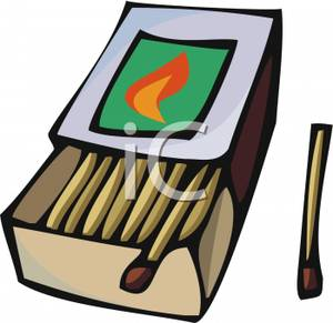 Clip Art Box of Matches with a Lit Match.