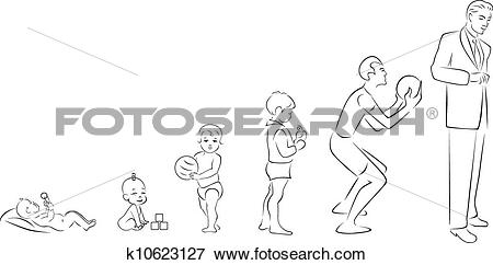 Clip Art of Stages of maturation man k10623127.