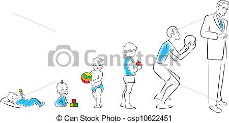 Clipart Vector of Stages of maturation man: from infancy to.
