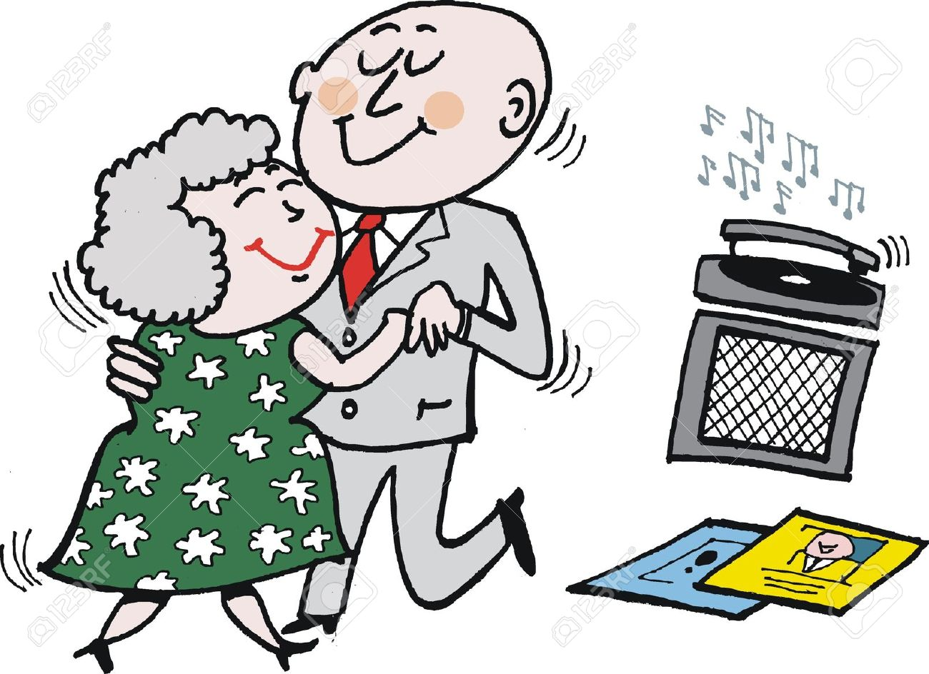 Cartoon Of Mature Age Couple Dancing. Royalty Free Cliparts.
