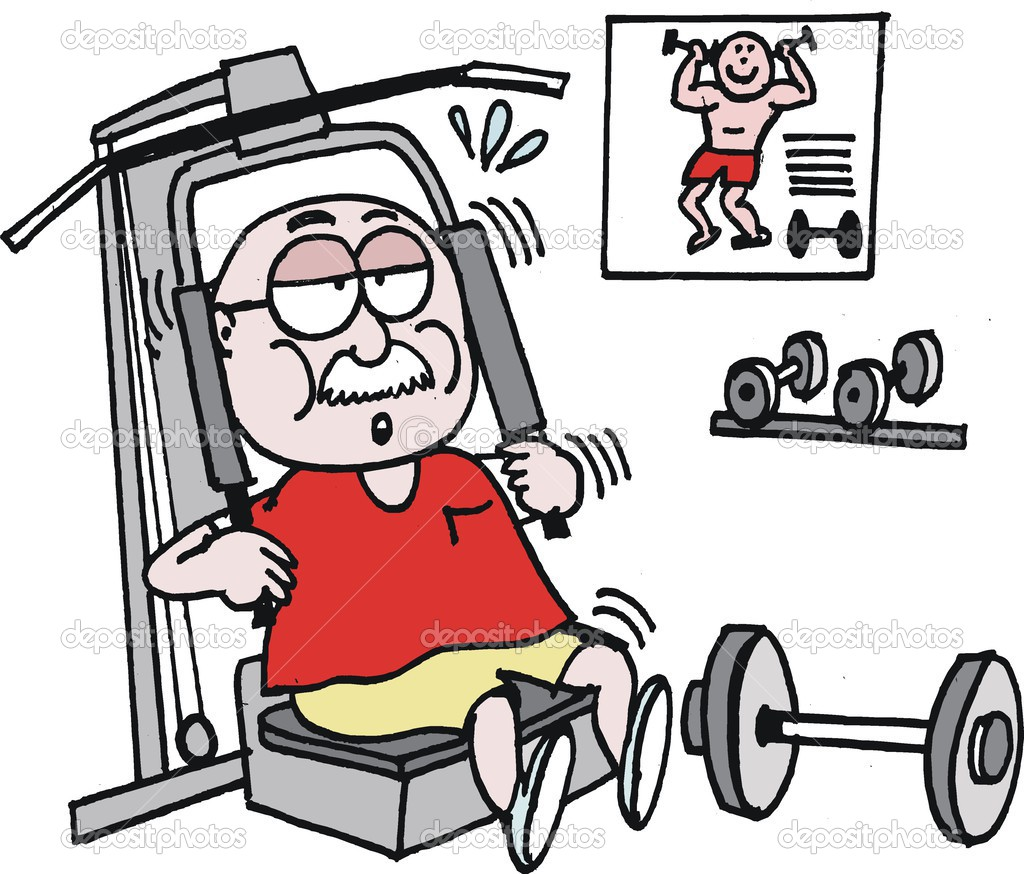 Vector cartoon of mature age man exercising in gym — Stock Vector.