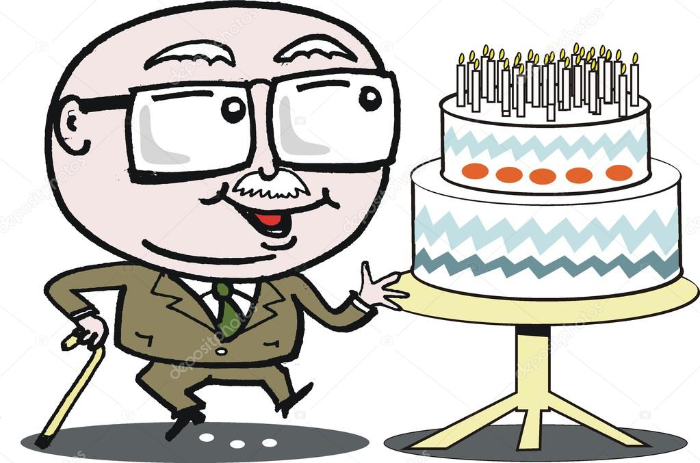 Vector cartoon of mature age man with birthday cake. — Stock.