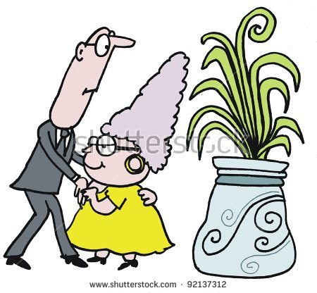 Vector Cartoon Mature Age Couple Dancing Stock Vector 92137312.