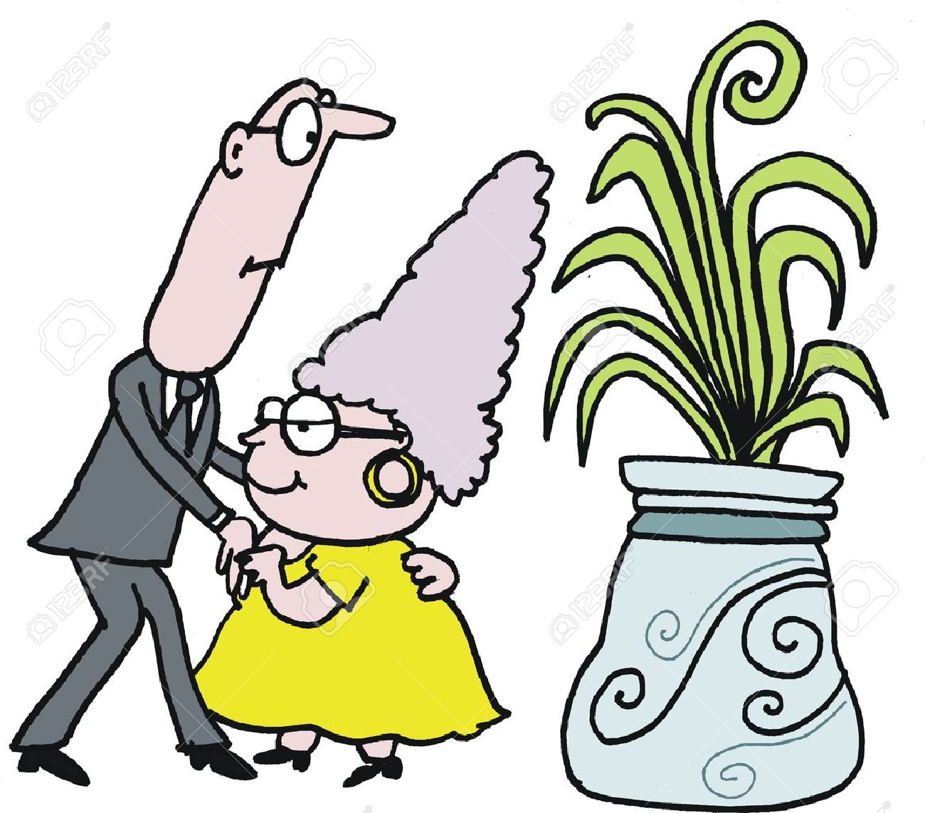 Mature Age Dancing Couple Vector Cartoon Royalty Free Cliparts.