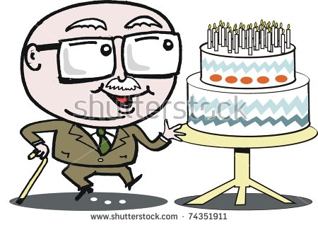 Vector Cartoon Of Mature Age Man With Birthday Cake..
