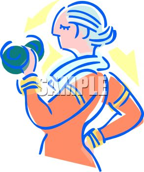 Royalty Free Clip Art Image: Mature Woman Lifting Dumbbells For.
