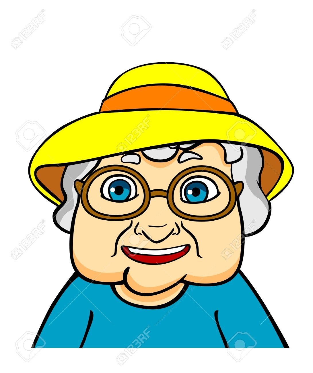 Old Grandmother In Hat And Eyeglasses. Vector Ilustration In.