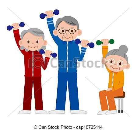 Clipart of Group of older mature people lifting weights in the gym.